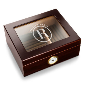 Name & Initial Tempered Glass Cigar Humidor