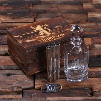 Custom Decanter, Flask, Cigar Case, Cutter w/ Box