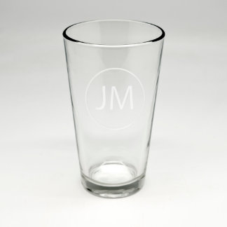 Sand Etched Pint Glass w/Monogram Initials