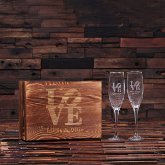 Custom His and Hers Champagne Glasses w/Gift Box