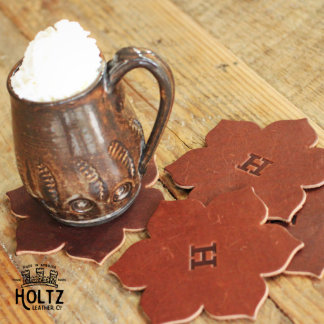 Set of 4 Brown Rustic Leather Magnolia Coasters