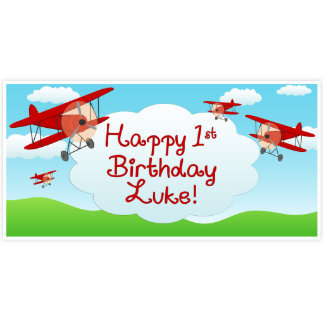 Personalized Airplane Birthday Banner Backdrop