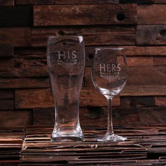 Custom His & Hers/Mr. & Mrs. Wine & Beer Glass Set