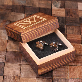 Personalized Engraved Shamrock Cuff Links w/Box