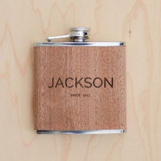 Personalized Wood Flask Birthday or Wedding Gift