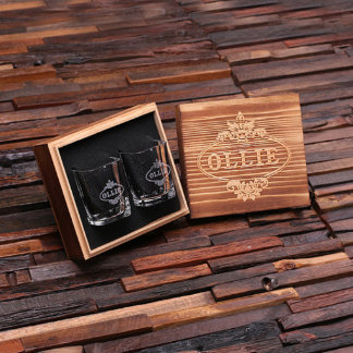 Personalized Engraved Shot Glasses w/ Box Set of 2