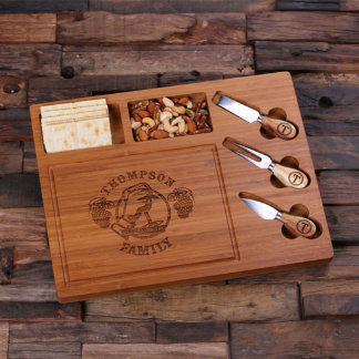 Customized Wood Cutting Serving Tray Board w/Tools