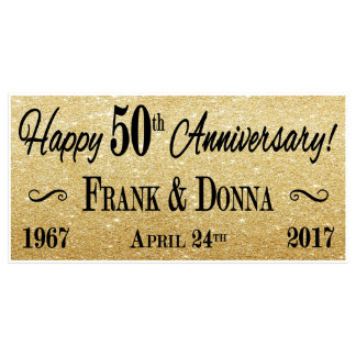 48x24 Personalized Gold 50th Anniversary Banner
