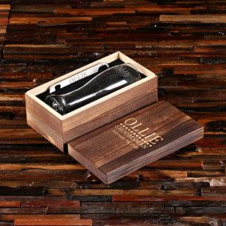 Personalized Wood Box, Bottle Opener & Pilsner