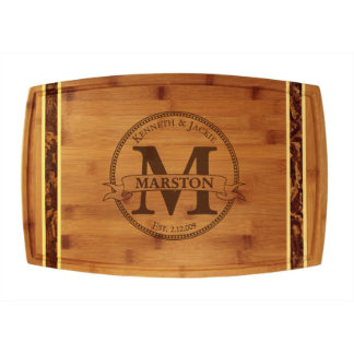 Circle Monogram Marbled Bamboo Cutting Board