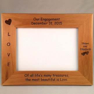 Laser Engraved Engagement Picture Frame 9.5 x 7.5