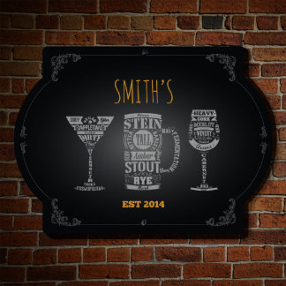 Personalized Modern Spirits Bar Sign