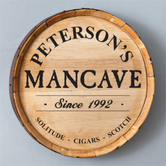 Man Cave Wood Whiskey Barrel Sign
