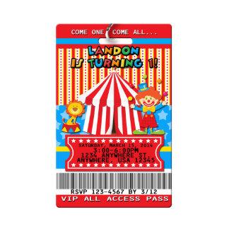 Carnival Birthday Invitations VIP Pass PVC Plastic