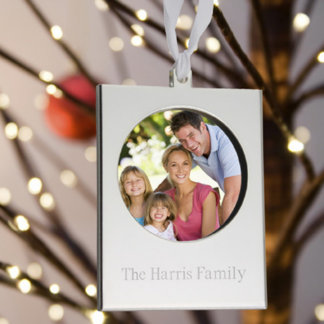 Personalized Engraved Silver Frame Ornament