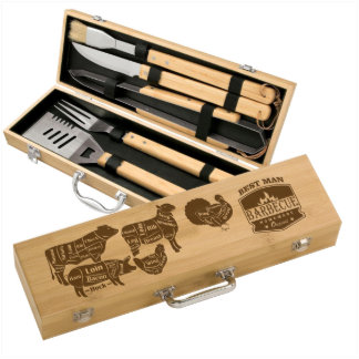 Cuts of Meat Personalized Bamboo BBQ Set