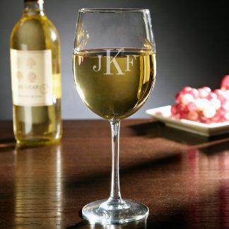 Monogrammed White Wine Glass, 19 oz