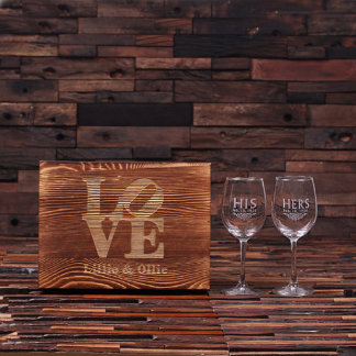 Personalized His & Hers Wine Glass Set w/ Wood Box
