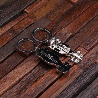 Stainless Steel Formula Race Car Keychain