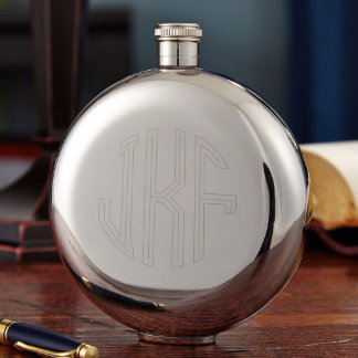 Circle Monogram Personalized Memento Flask, 10 oz