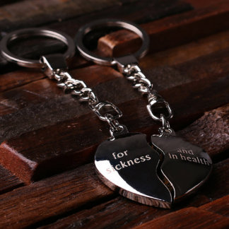 Personalized Polish Steel Key Chain – Double Heart