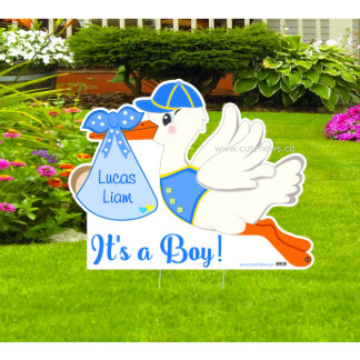 "Personalized ""It's a Boy"" Stork Announcement"