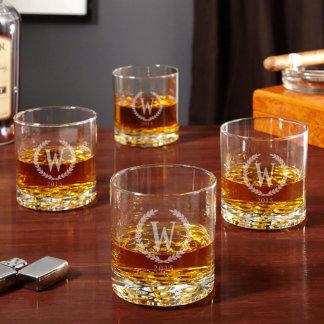 Vidrios del whisky del estadista de Buckman,
