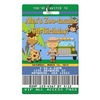 Zoo Birthday Invitations VIP Pass PVC Plastic