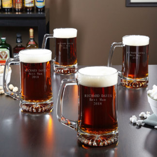 Personalized 25 oz Beer Mugs, Set of 4