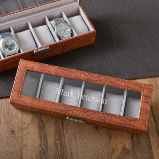 Personalized Latched Brown Leather Watch Case