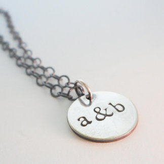 Silver Initial Disc Charm Necklace // Personalized