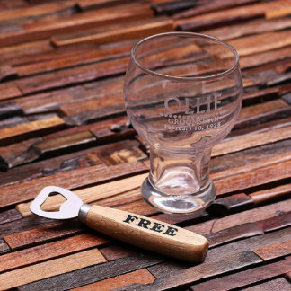 Custom 16 oz. Beer Glass with Wood Bottle Opener
