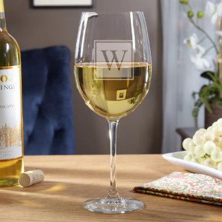 Block Monogram Personalized Wine Glass