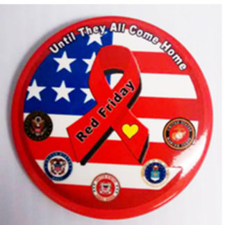 RED Friday Support Our Troops Button