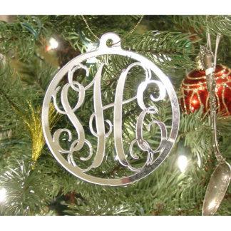 """3 Letter 4"""" Tall Silver Mirror Monogram Ornament"""