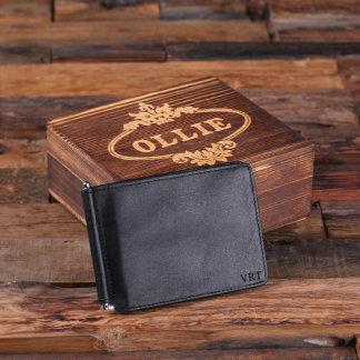 Personalized Monogrammed Bifold Wallet w/ Box