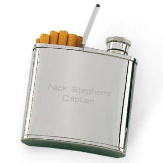 2-in-1 Engraved Hip Flask & Cigarette Holder