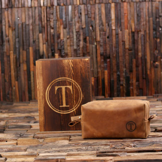 Personalized Leather Shaving Kit w/ Box
