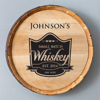 Name & Established Date Wood Whiskey Barrel Sign