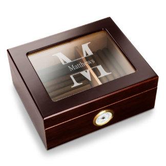 Monogram Glass Top Oak Best Man Cigar Humidor