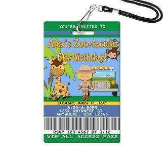 Zoo Birthday Invitations - Plastic VIP Pass Girl