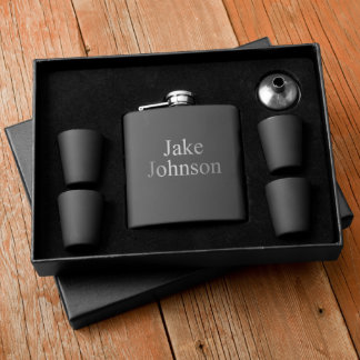 Personalized Matte Black Flask & Shotglass Box Set