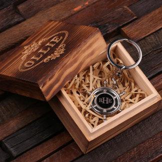 Personalized Ship's Wheel Key Chain w/Box
