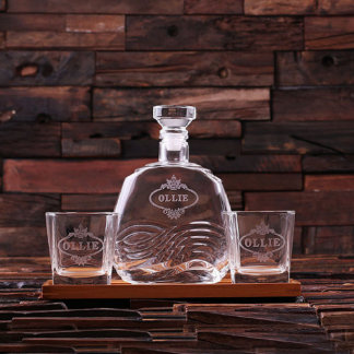 Custom Tray Set with Decanter & 2 Whiskey Glasses
