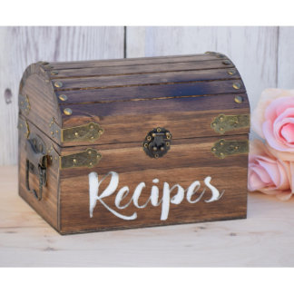 Personalized Rustic Wooden Recipe Chest