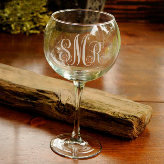 Personalized Red Wine Glass -Interlocking Monogram