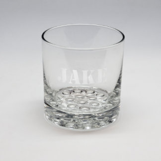 Sand Etched Stencil Name Whiskey Glass