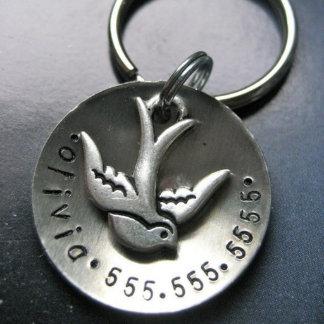 Round Metal Dog ID Tag w/Pewter Sparrow Charm