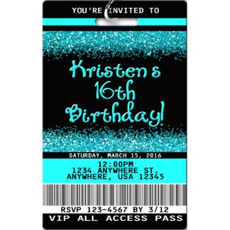 16th VIP Birthday Invitations w/Lanyard