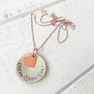 """""""A Mother's Love"""" Silver Disc Necklace"""
